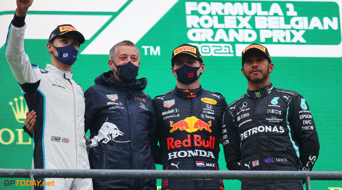 Formula One World Championship 1st place Max Verstappen (NLD) Red Bull Racing RB16B, 2nd place George Russell (GBR) Williams Racing FW43B and 3rd place Lewis Hamilton (GBR) Mercedes AMG F1 W12. 29.08.2021. Formula 1 World Championship, Rd 12, Belgian Grand Prix, Spa Francorchamps, Belgium, Race Day. - www.xpbimages.com, EMail: requests@xpbimages.com (C) Copyright: Batchelor / XPB Images Motor Racing - Formula One World Championship - Belgian Grand Prix - Race Day - Spa Francorchamps, Belgium XPB Images Spa Francorchamps Belgium  Formel1 Formel F1 Formula 1 Formula1 GP Grand Prix one Circuit de Spa-Francorchamps Spa Francorchamps Belgium Belgian Sunday 29 8 08 2021 August Podium Portrait