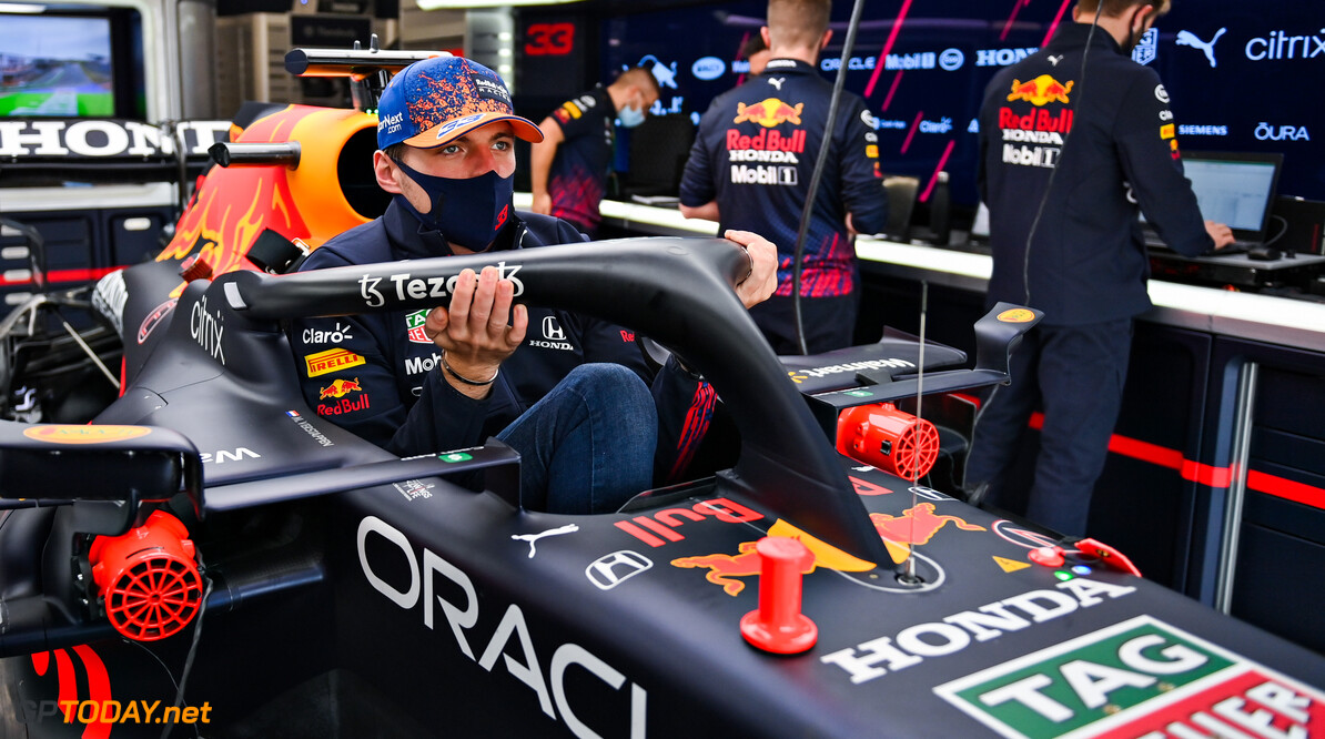 ZANDVOORT, NETHERLANDS - SEPTEMBER 02: Max Verstappen of Netherlands and Red Bull Racing sits in his car in the garage during previews ahead of the F1 Grand Prix of The Netherlands at Circuit Zandvoort on September 02, 2021 in Zandvoort, Netherlands. (Photo by Dan Mullan/Getty Images) // Getty Images / Red Bull Content Pool  // SI202109020941 // Usage for editorial use only //  F1 Grand Prix of The Netherlands - Previews     SI202109020941