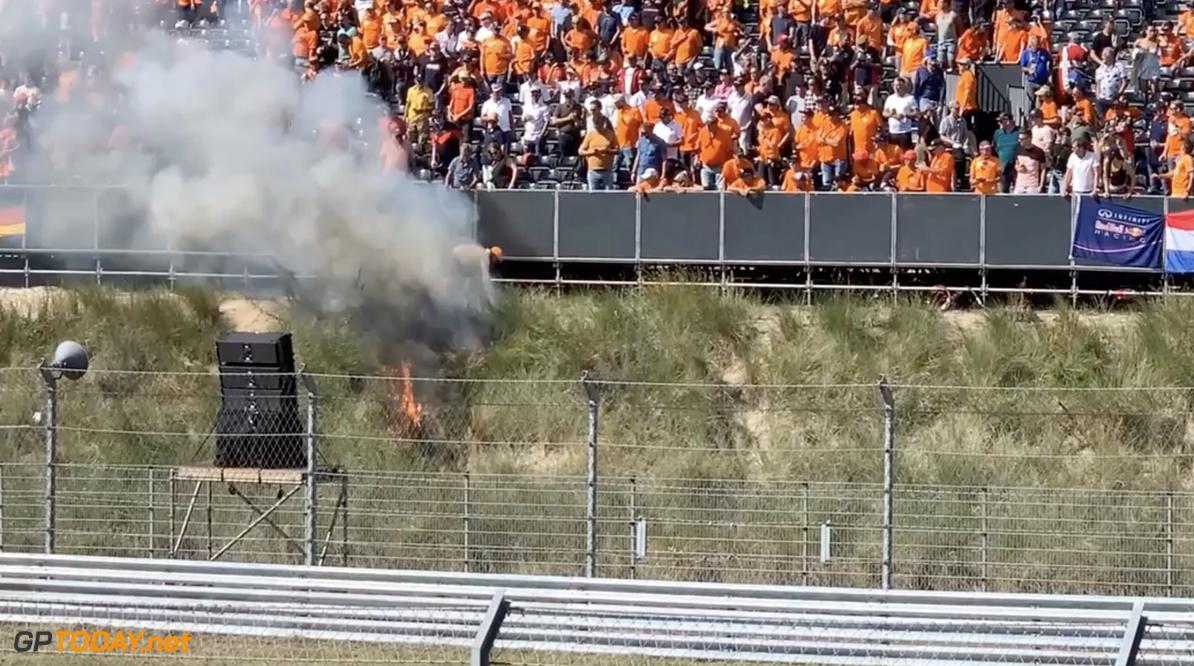 <b>Video: </b>Formule 1-fan zorgde met fakkel voor brand en paniek tijdens race op Zandvoort