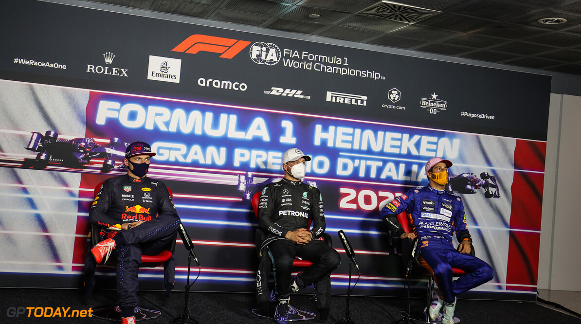 Formula One World Championship Max Verstappen (NLD), Red Bull Racing Valtteri Bottas (FIN), Mercedes AMG F1 and Daniel Ricciardo (AUS), McLaren F1 Team  11.09.2021. Formula 1 World Championship, Rd 14, Italian Grand Prix, Monza, Italy, Sprint Day. - www.xpbimages.com, EMail: requests@xpbimages.com (C) Copyright: Charniaux / XPB Images Motor Racing - Formula One World Championship - Italian Grand Prix - Sprint Day - Monza, Italy XPB Images Monza Italy  Formel1 Formel F1 Formula 1 Formula1 GP Grand Prix one Italy Italian Monza Autodromo di Monza September Saturday 11 09 9 2021 Sprint Portrait
