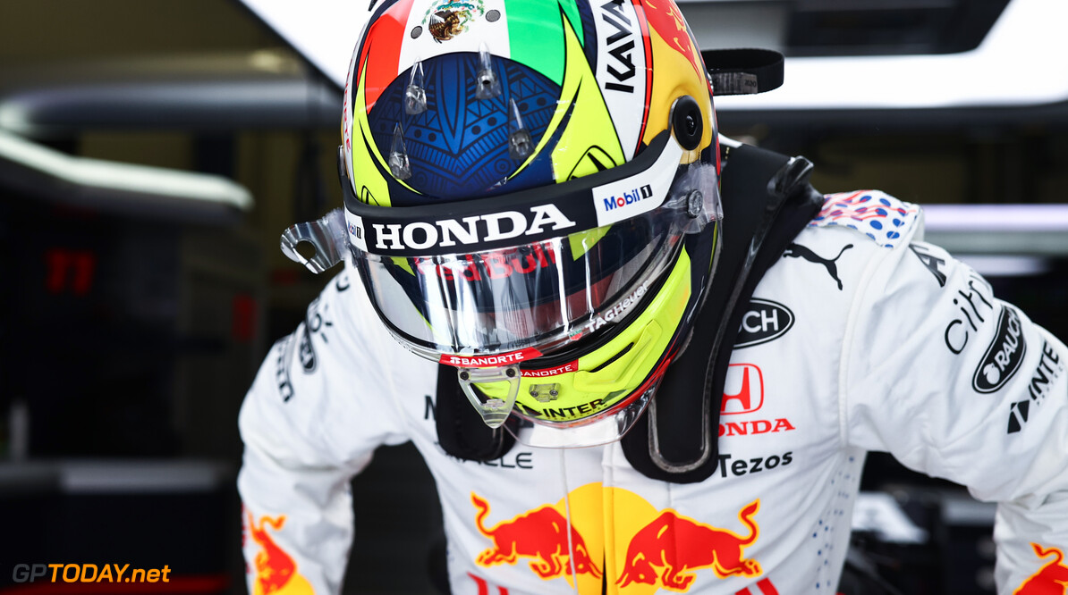 ISTANBUL, TURKEY - OCTOBER 09: Sergio Perez of Mexico and Red Bull Racing prepares to drive in the garage during final practice ahead of the F1 Grand Prix of Turkey at Intercity Istanbul Park on October 09, 2021 in Istanbul, Turkey. (Photo by Mark Thompson/Getty Images) // Getty Images / Red Bull Content Pool  // SI202110090155 // Usage for editorial use only //  F1 Grand Prix of Turkey - Final Practice     SI202110090155