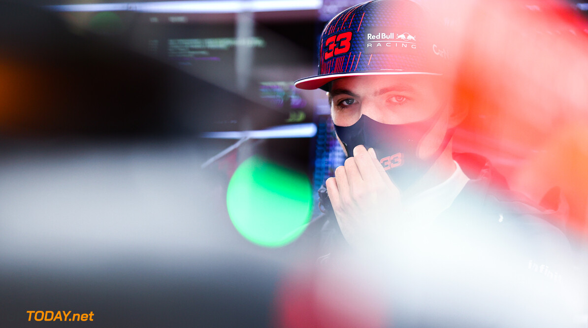 ISTANBUL, TURKEY - OCTOBER 09: Max Verstappen of Netherlands and Red Bull Racing looks on in the garage during final practice ahead of the F1 Grand Prix of Turkey at Intercity Istanbul Park on October 09, 2021 in Istanbul, Turkey. (Photo by Mark Thompson/Getty Images) // Getty Images / Red Bull Content Pool  // SI202110090115 // Usage for editorial use only //  F1 Grand Prix of Turkey - Final Practice     SI202110090115
