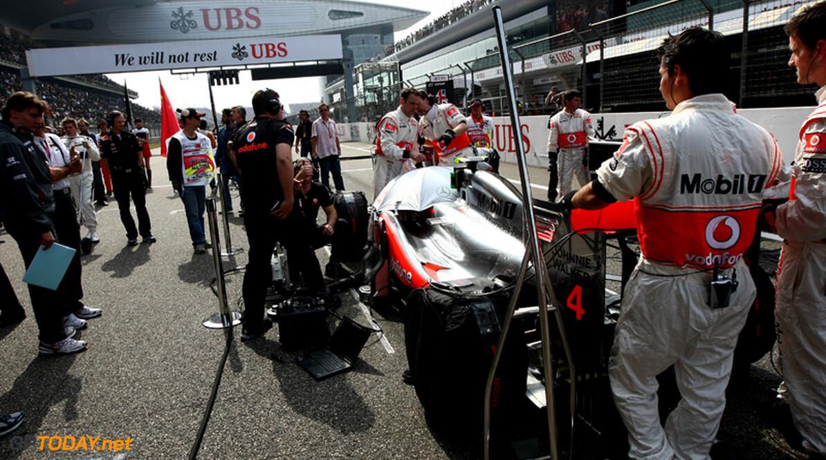 2011 Chinese Grand Prix - Sunday Shanghai International Circuit, Shanghai, China 17th April 2011 Jenson Button (GBR), McLaren Mercedes grid World Copyright: Andrew Hone / Formula Press / LAT Photographic
