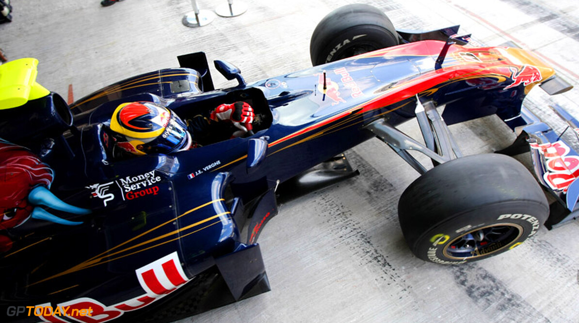 ABU DHABI, UNITED ARAB EMIRATES - NOVEMBER 16:  Jean-Eric Vergne of France and Scuderia Toro Rosso prepares to go out on track during the Young Driver Testing at the Yas Marina Circuit on November 16, 2010 in Abu Dhabi, United Arab Emirates.  (Photo by Andrew Hone/Andrew Hone/Getty Images)  Andrew Hone