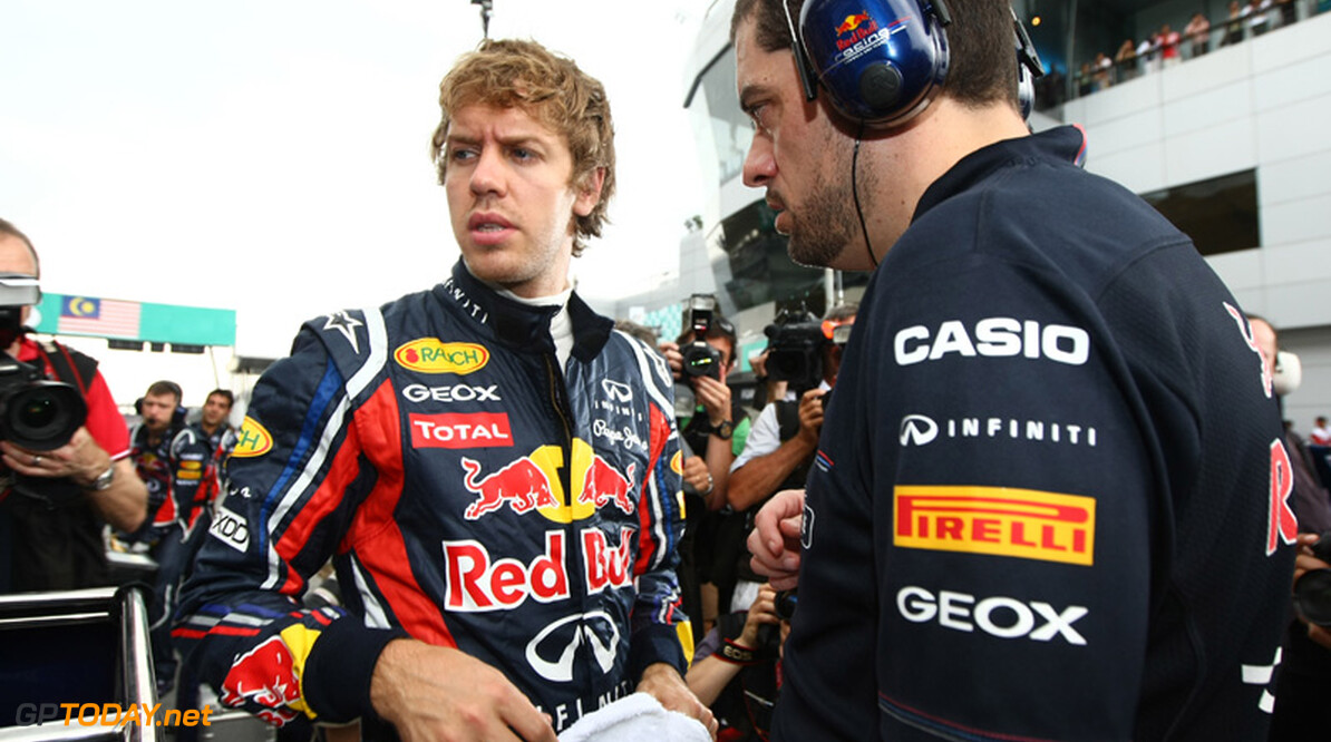 2011 Malaysian Grand Prix - Sunday Sepang, Kuala Lumpur, Malaysia 10th April 2011 Sebastian Vettel (GER), Red Bull Racing on the grid World Copyright: Andrew Hone / Formula Press / LAT Photographic