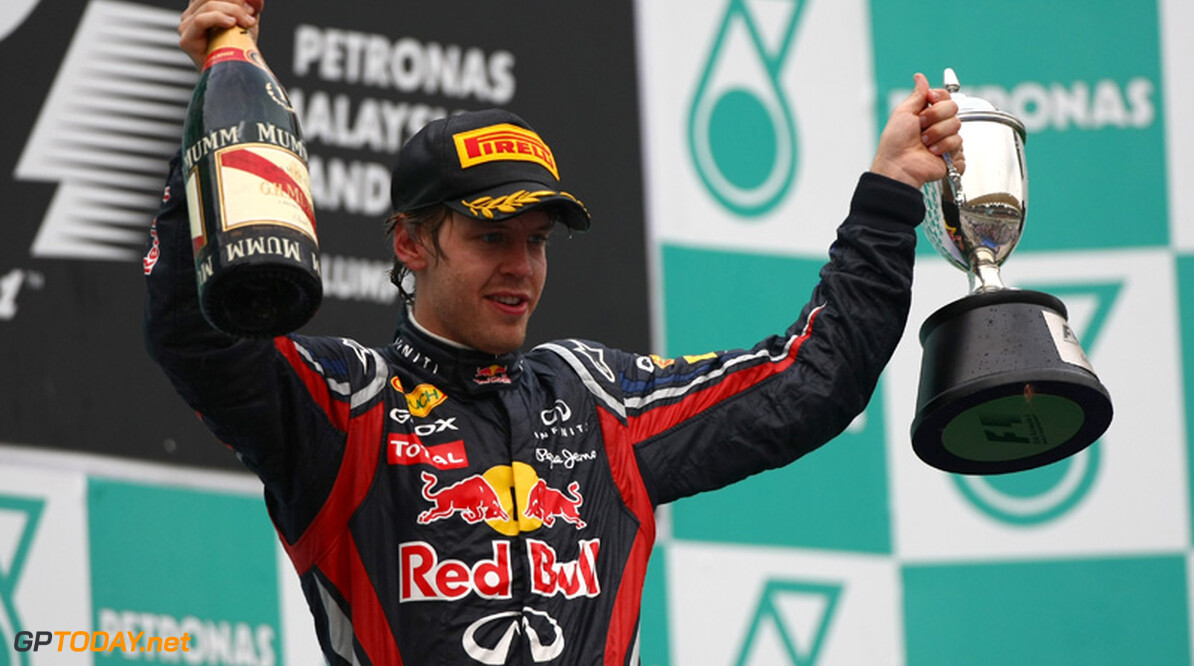 2011 Malaysian Grand Prix - Sunday Sepang, Kuala Lumpur, Malaysia 10th April 2011 Winner, 1st, Sebastian Vettel (GER), Red Bull Racing, RB7 World Copyright: Andrew Hone / Formula Press / LAT Photographic