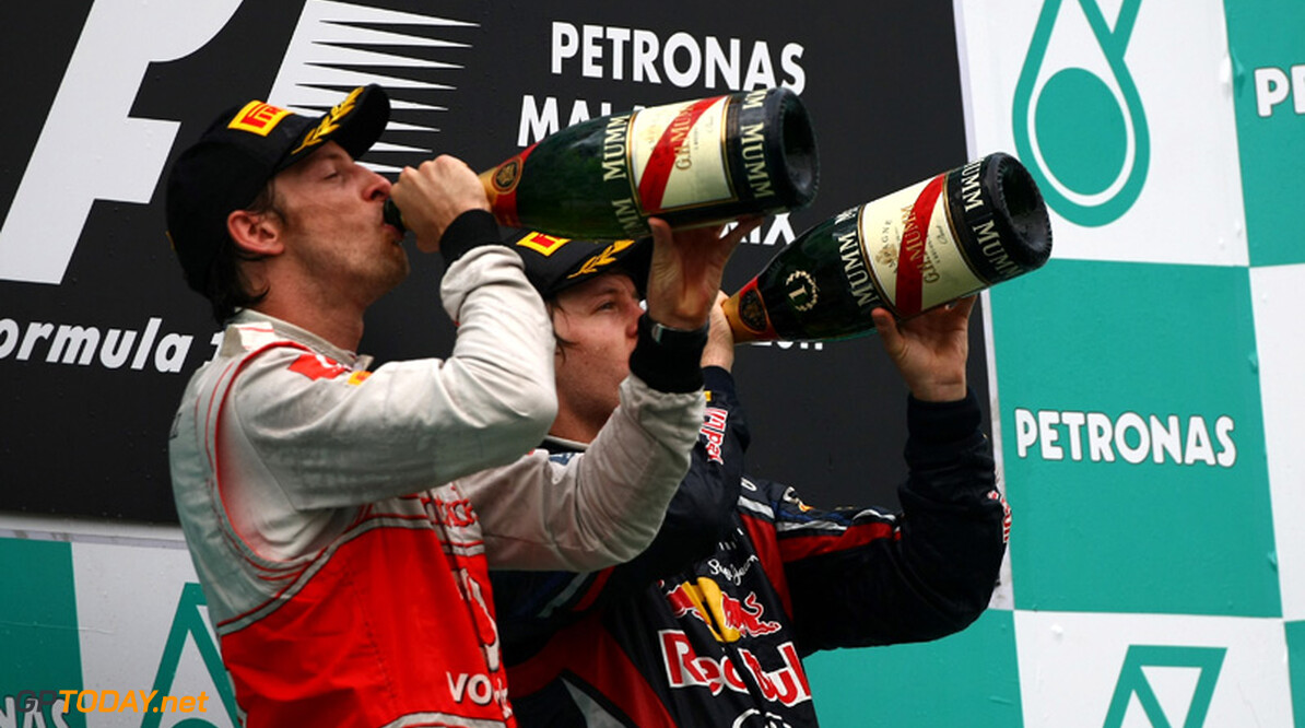 2011 Malaysian Grand Prix - Sunday Sepang, Kuala Lumpur, Malaysia 10th April 2011 Winner, 1st, Sebastian Vettel (GER), Red Bull Racing, RB7 and Jenson Button (GBR), McLaren Mercedes  World Copyright: Andrew Hone / Formula Press / LAT Photographic