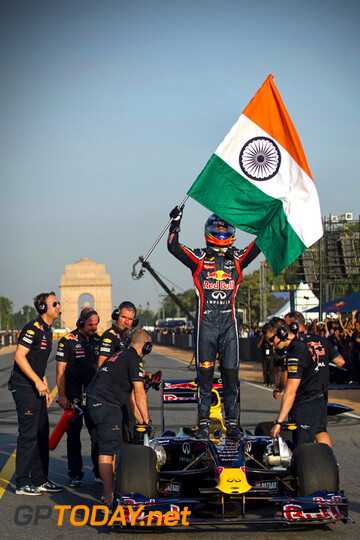 Demo Red Bull Racing in Delhi, 1 oktober 2011