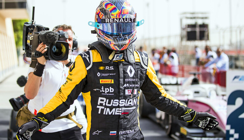 FIA Formula 2 Series - Round 1 Bahrain International Circuit, Sakhir, Bahrain Sunday 8 April 2018. Artem Markelov (RUS, RUSSIAN TIME).  World Copyright: Zak Mauger/LAT Images ref: Digital Image   Zak Mauger    f2 race two 2 sprint portrait podium