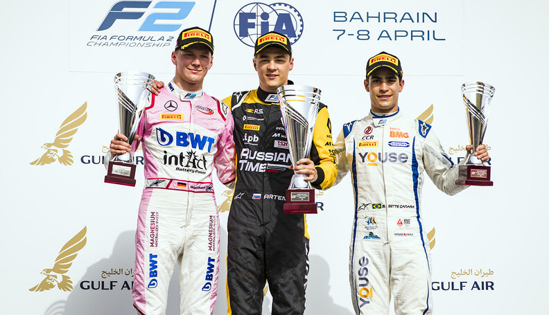 FIA Formula 2 Series - Round 1 Bahrain International Circuit, Sakhir, Bahrain Sunday 8 April 2018. Maximilian Gunther (DEU, BWT Arden), Artem Markelov (RUS, RUSSIAN TIME), Sergio Sette Camara (BRA, Carlin).  World Copyright: Zak Mauger/LAT Images ref: Digital Image   Zak Mauger    f2 race two 2 sprint portrait podium