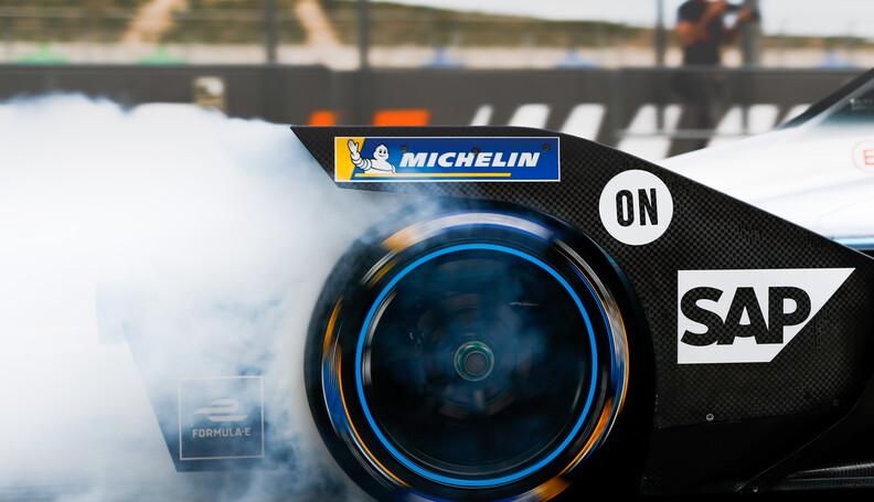 Rear tyre of Nyck De Vries (NLD), Mercedes Benz...