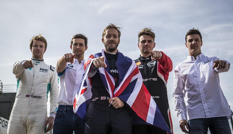 British FIA ABB Formula E drivers Oliver Turvey...