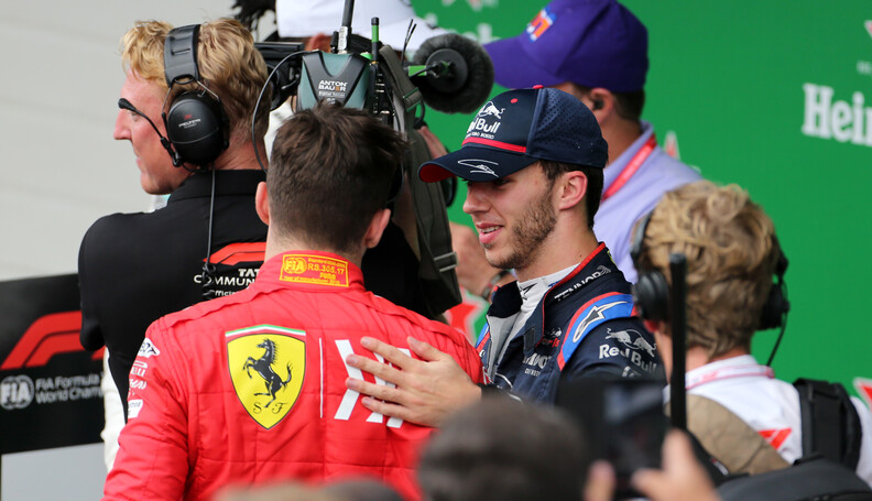 Formula One World Championship Charles Leclerc (FRA), Scuderia Ferrari and Pierre Gasly (FRA), Scuderia Toro Rosso  17.11.2019. Formula 1 World Championship, Rd 20, Brazilian Grand Prix, Sao Paulo, Brazil, Race Day. - www.xpbimages.com, EMail: requests@xpbimages.com (C) Copyright: Charniaux / XPB Images Motor Racing - Formula One World Championship - Brazilian Grand Prix - Race Day - Sao Paulo, Brazil XPB Images Sao Paulo Brazil  Formel1 Formel F1 Formula 1 Formula1 GP Grand Prix one November Brazil Brasil Brazilian Brasilian Sao Paulo Interlagos Autodromo Sunday 17 11 2019 Podium Portrait