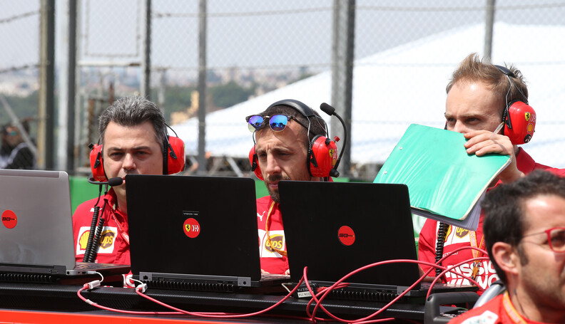 Formula One World Championship Ferrari Engineers on their laptops on the grid 17.11.2019. Formula 1 World Championship, Rd 20, Brazilian Grand Prix, Sao Paulo, Brazil, Race Day. - www.xpbimages.com, EMail: requests@xpbimages.com (C) Copyright: Batchelor / XPB Images Motor Racing - Formula One World Championship - Brazilian Grand Prix - Race Day - Sao Paulo, Brazil XPB Images Sao Paulo Brazil  Formel1 Formel F1 Formula 1 Formula1 GP Grand Prix one November Brazil Brasil Brazilian Brasilian Sao Paulo Interlagos Autodromo Sunday 17 11 2019 Grid Portrait computer laptop