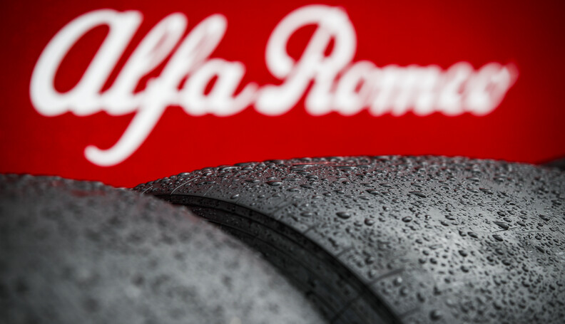 Rain on Pirelly tyres during the Formula 1 Role...
