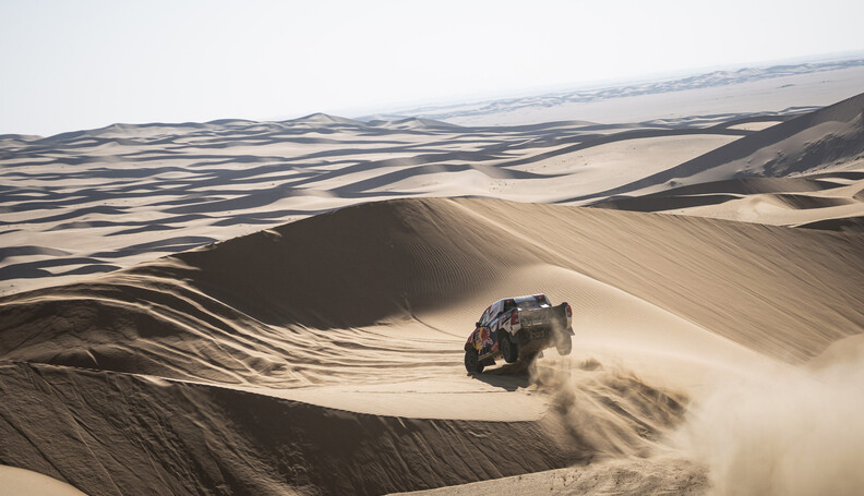 Nasser Al-Attiyah (QAT) of Toyota Gazoo Racing races during stage 02 of Rally Dakar2021 from Bisha to Wadi Ad Dewasir, Saudi Arabia on January 04, 2021 // Marcelo Maragni/Red Bull Content Pool // SI202101040048 // Usage for editorial use only //  Nasser Al-Attiyah     SI202101040048