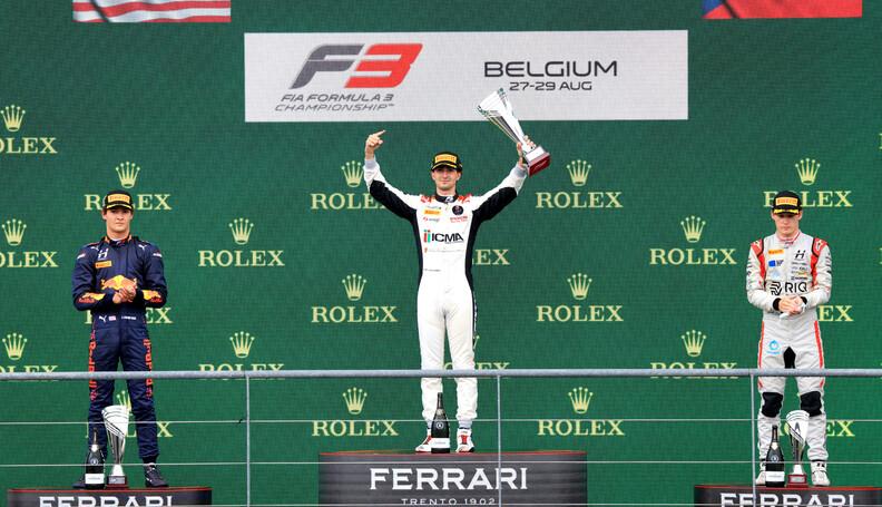 FIA Formula 3 Championship The podium (L to R):...